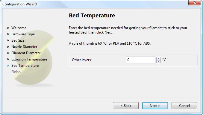 設定ウィザード:ベッド温度
