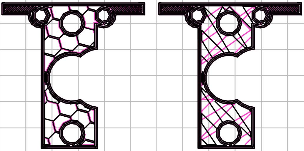複雑なオブジェクトにおける充填パターンの比較。左:honeycomb、右:line