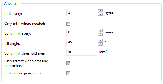 Infill advanced settings.