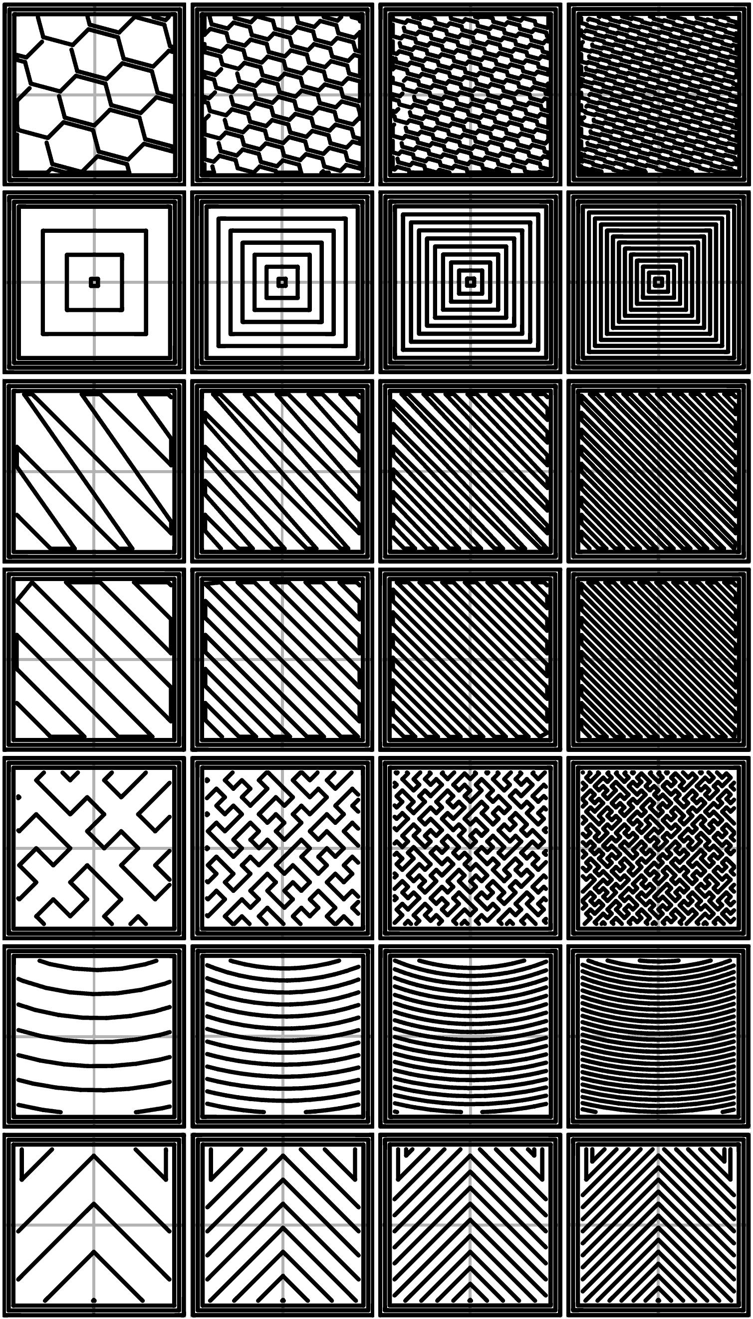 各密度の充填パターン。左から右へそれぞれ20%、40%、60%、80%。上から下へそれぞれHaneycomb、Concentric、Line、Rectilinear、Hilbert Curve、Archimedean Chords、Octagram Spiral。