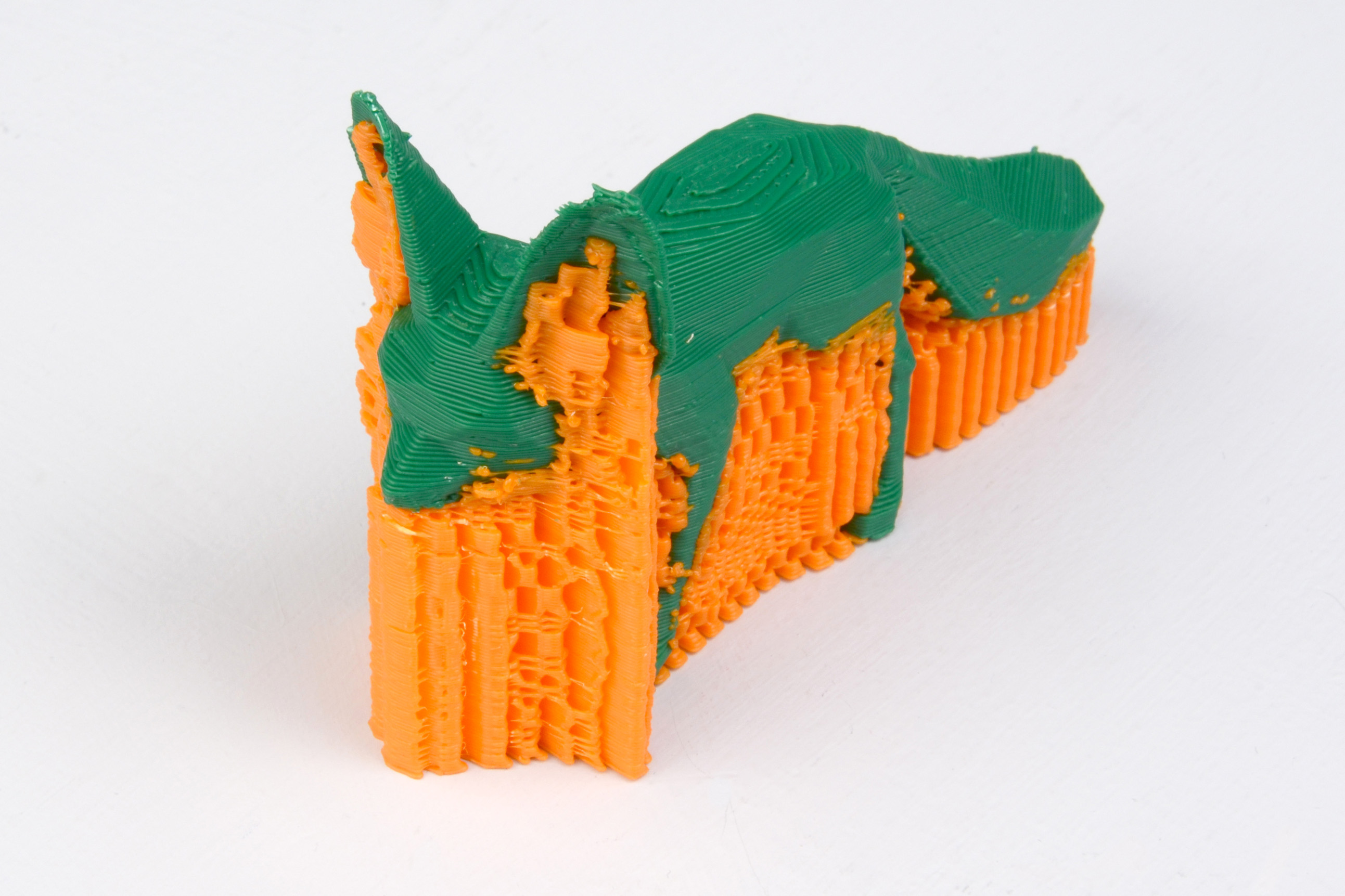 An example of an object printed with support material.