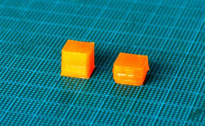 10mm角キューブをプリントして比較した画像