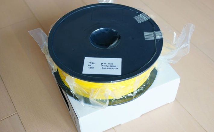 PLA1.75mmフィラメントの梱包状態の画像