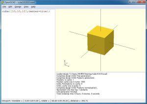 OpenSCADで10mm角のキューブを作る