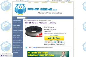 PET 3D Printer Filament   1.75mm
