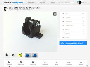 Slim LM8UU Holder Parametric by jonaskuehling   Thingiverse