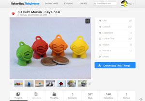 3D Hubs Marvin   Key Chain by 3DHubs   Thingiverse