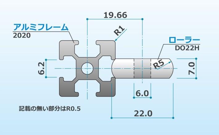 アルミフレームとローラーの寸法関係