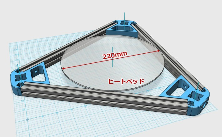 デルタ型3Dプリンターのヒートベッドの大きさ
